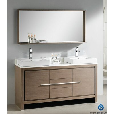 60quot; Double Modern Bathroom Vanity Set with Mirror amp; Reviews  Wa