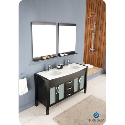 "Fresca Classico Infinito 60"" Modern Double Sink Bathroom Vanity Set"