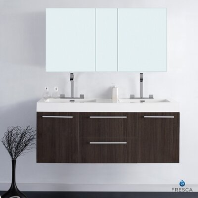 "Fresca Senza 54.25"" Opulento Modern Double Bathroom Vanity Set with Medicine Cabinet"