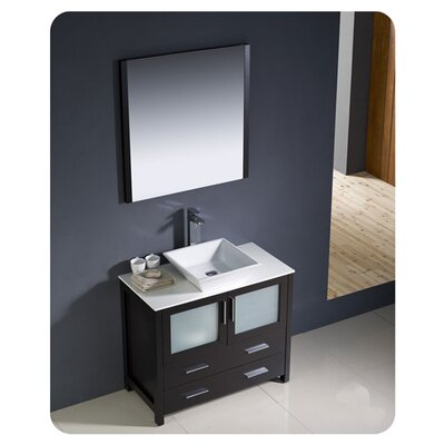 "Fresca Torino 35.8"" Modern Bathroom Vanity Set with Vessel Sink"