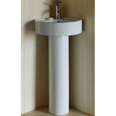 Solutions Medium Corner Bathroom Sink with Round Pedestal - 24630-00