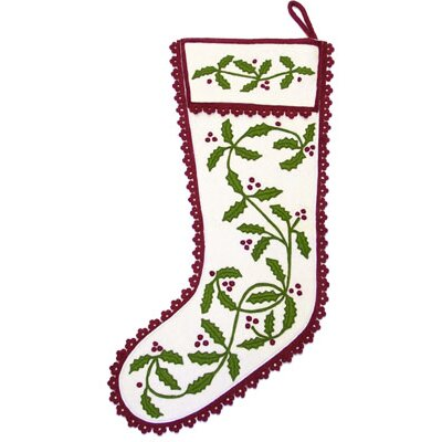The Sandor Collection Holly Garland Stocking in Cranberry and White