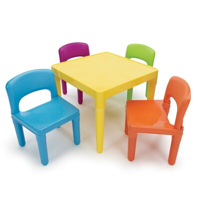 Tot Tutors Kids' 5 Piece Plastic Table and Chair Set
