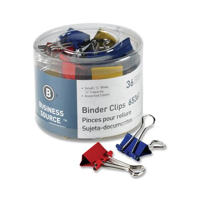 "Business Source Binder Clips, Medium 1-1/4""W, 5/8"" Capacity, 24 per Pack, Assorted"