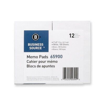 "Business Source Memo Pads, Unruled, 15lb., 3""x5"", 100 Sheets, White"