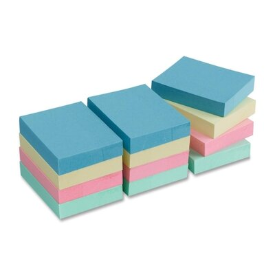 "Business Source Adhesive Notes,Plain,1-1/2""x2"",100 Sheets per Pad,12 Pads per Pack,Pastel"