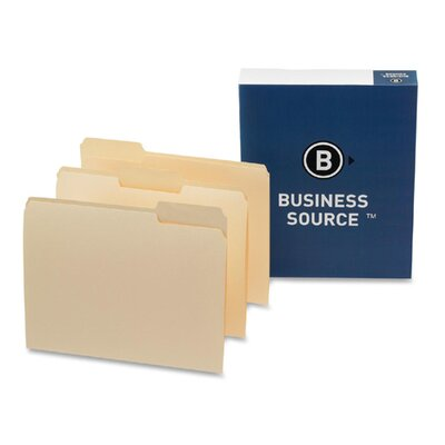 Business Source Top Tab File Folder, Letter, 1/3 Tab Cut, Assorted Position, Manila, 100 per Box