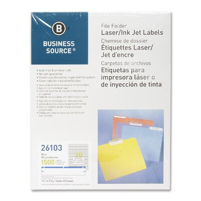 Business Source Label, File Folder, Laser/Inkjet, 1500 per Pack, Dark Blue