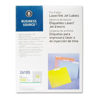 Business Source Label, File Folder, Laser/Inkjet, 1500 per Pack, Green
