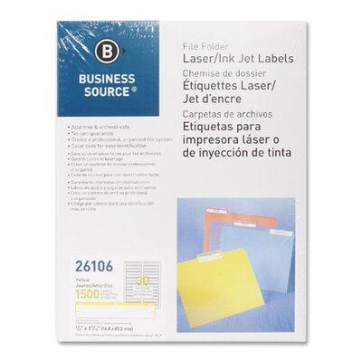 Business Source Label, File Folder, Laser/Inkjet, 1500 per Pack, Yellow