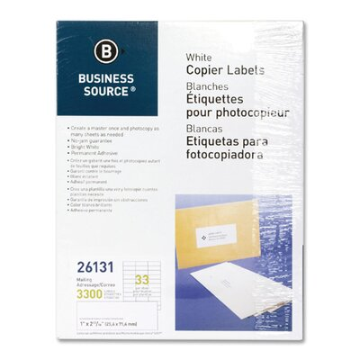 Business Source Mailing Labels, 1&quot;x2-3/4&quot;, 3300 per Pack, White