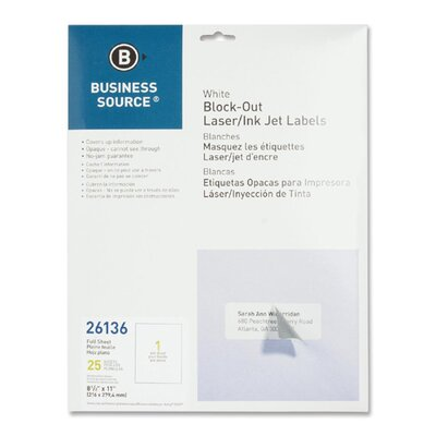 "Business Source Block-Out Labels, Full Sheet, 8-1/2""x11"", 25 per Pack, White"