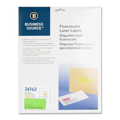 "Business Source Laser Labels, Fluorescent, 2""x4"", 250 per Pack, Neon Green"