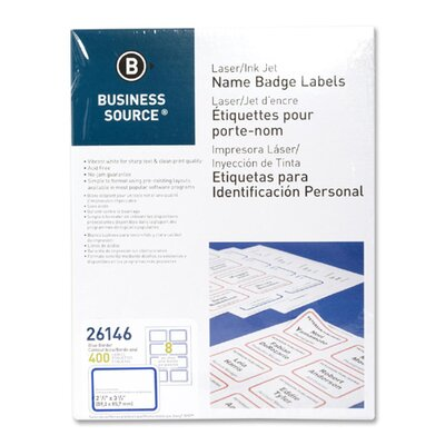 "Business Source Name Badge, Laser, 2-1/3""x3-3/8"", 400 per Pack, White/Blue"