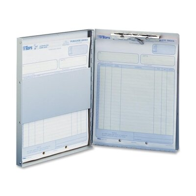 "Business Source Form Holder w/ Storage, Side Opening, 8-1/2""x12"", Aluminum"
