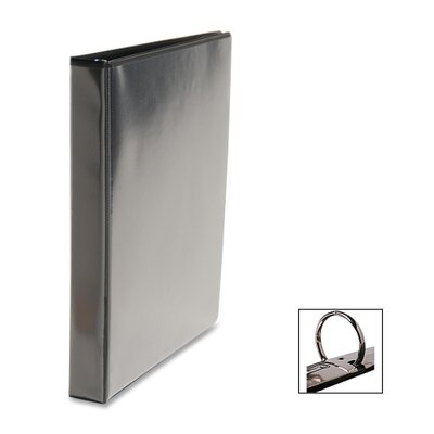 Business Source Round Ring Binder, w/ Pockets, 1, Black