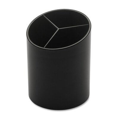 "Business Source Large Pencil Cup, 3 Compartments, 3""x3""x4-1/8"", Black"