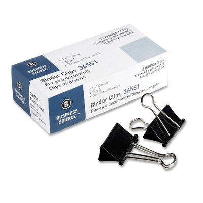 "Business Source Binder Clip, Medium, 1-1/4""W, 5/8"" Capacity, Black"