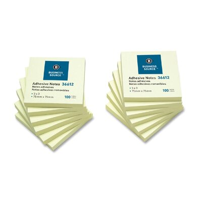 "Business Source Adhesive Note, Repositionable, 3"" x 3"", Yellow, 12 per Pack"