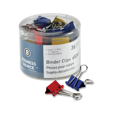 Business Source Binder Clips, Small 3/4&quot;W, 3/8&quot; Capacity, 36 per Pack, Assorted