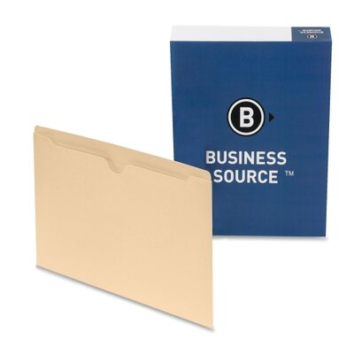 "Business Source File Pocket,Straight Cut Tab, 1/2"" Tab, Legal, 100 per Box, Manila"