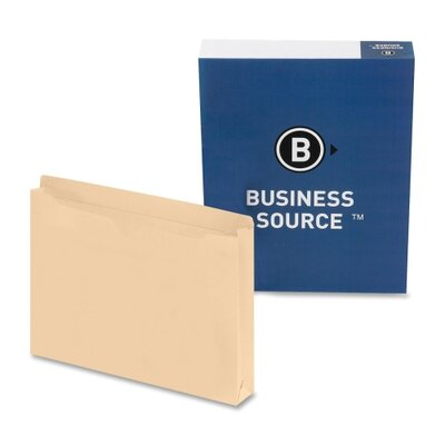 "Business Source File Pocket,Straight Cut Tab, 1-1/2"" Exp., Legal, 50 per Box, Manila"