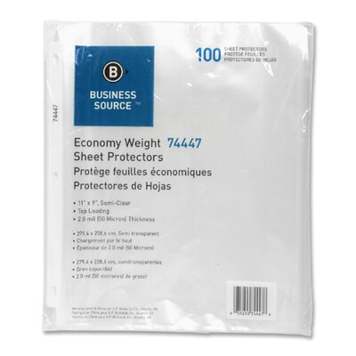 "Business Source Sheet Protectors, Top Load, 3HP, 2.0mil, 11""x9"", 100 per Pack, Clear"