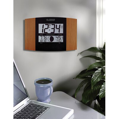 La Crosse Technology Oak & Black Atomic Wall Clock with Indoor/Outdoor Temperature