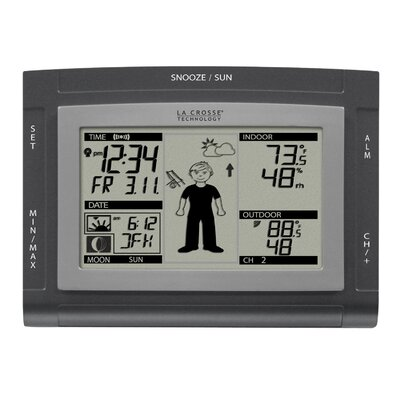 La Crosse Technology Wireless Silver Sun & Moon Forecast Station & Atomic Clock with Oscar Outlook
