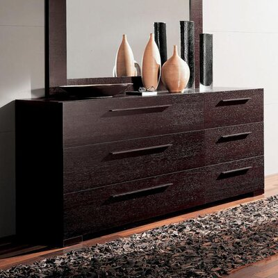 YumanMod Soho 6 Drawer Double Dresser with Mirror