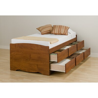 Prepac twin platform storage bed with six drawers for Twin bed base with drawers