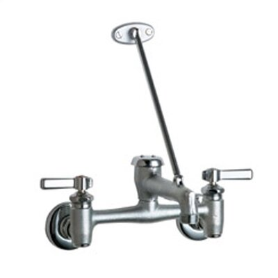 chicago faucets garage faucet with vacuum breaker spout wall brace and double lever handle