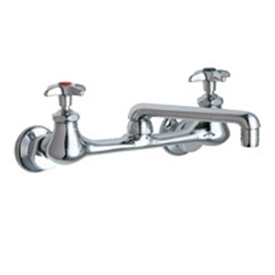 Laboratory Wall Mounted Sink Faucet with Cast Swing Spout and Double Cross Handle