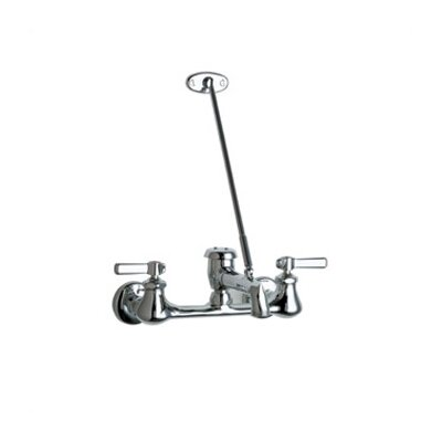 Manual Garage Faucet with Vacuum Breaker Spout and Double Lever Handle