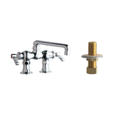 "Chicago Faucets 772 Above Deck Mount Double Handle Widespread Bridge Faucet with Inlet Arms and 6"" Swing Spout"