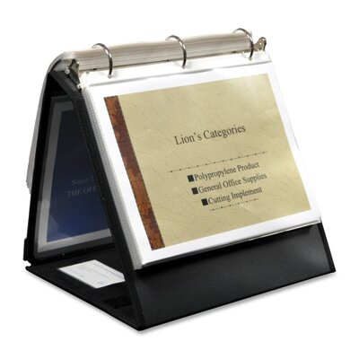 "Lion Office Products Ring Binder Easel, 1-1/2"" Cap, Horizontal, 11""x8-1/2"", Black"