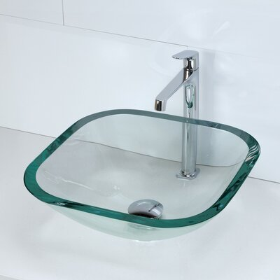 Transparent Square 19mm Glass Vessel Bathroom Sink - 1139T
