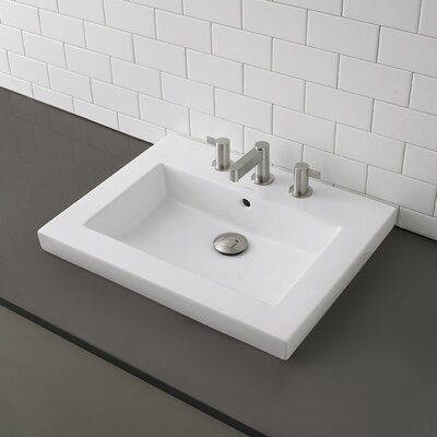DecoLav Classically Redefined Rectangular Semi-Recessed Bathroom Sink