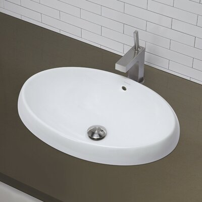 Classically Redefined Semi Recessed Oval Bathroom Sink - 1455-CWH