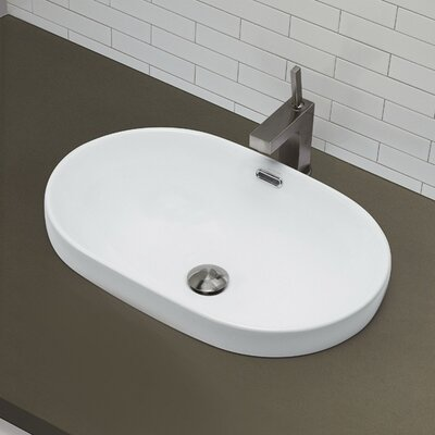 Classically Redefined Semi Recessed Oval Bathroom Sink - 1456-CWH