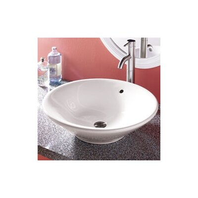 Classically Redefined Round Ceramic Vessel Bathroom Sink with Overflow - 1410-CWH