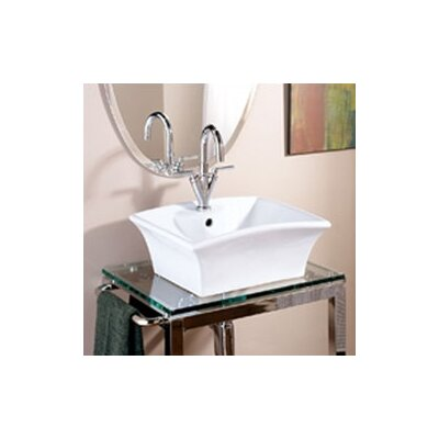 Classically Redefined Rectangular Ceramic Vessel Bathroom Sink with Overflow - 1430-CWH