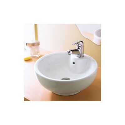 Classically Redefined Round Ceramic Vessel Bathroom Sink with Overflow - 1451-CWH