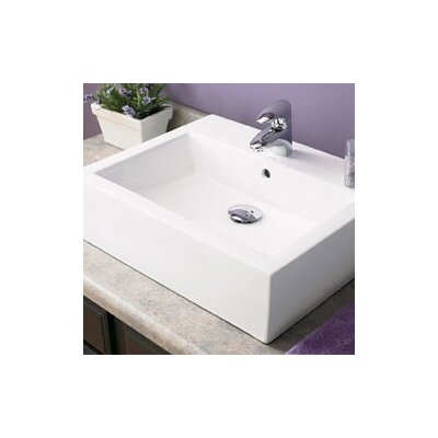 Vessel Sink Overflow : ... Rectangular Ceramic Vessel Bathroom Sink with Overflow - 1417-CWH