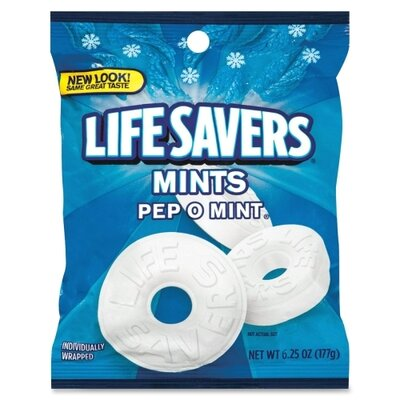 Marjack Lifesavers, Pep-O-Mint, 6.25 oz. Bag, 12/PK