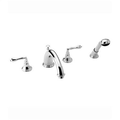 Jado Classic Double Handle Volume Control Roman Tub Faucet with Hand Shower and Straight Lever Handle
