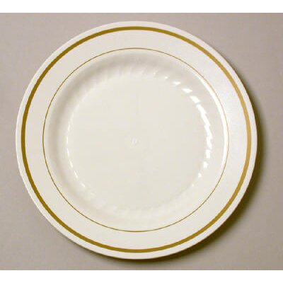 "WNA Comet Masterpiece 6"" Plastic Plate in Ivory with Gold Accents"