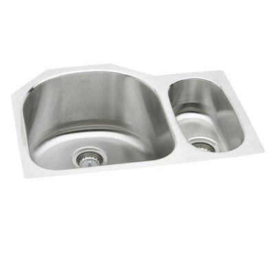 "Elkay Lustertone 26.75"" x 20"" Deep Multi-Sized Double Bowl Kitchen Sink"