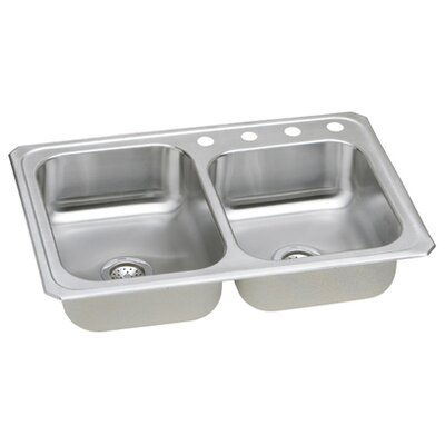 "Elkay Gourmet 33"" x 22"" x 7"" Top Mount Kitchen Sink"