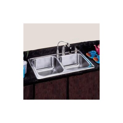"Elkay 22""x 33"" Self Rimming Stainless Steel Double Bowl Kitchen Sink"